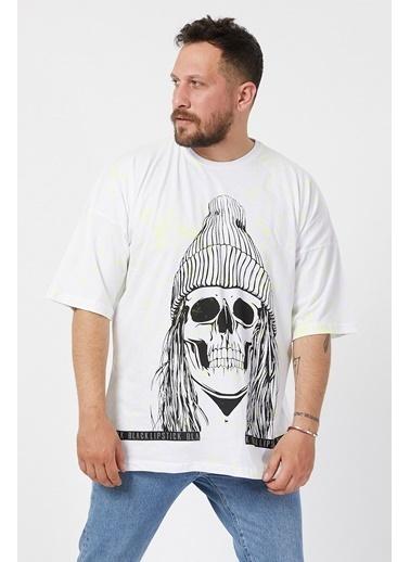 XHAN Beyaz Baskılı Boyalı Oversize T-Shirt 1Kxe1-44596-01 Beyaz